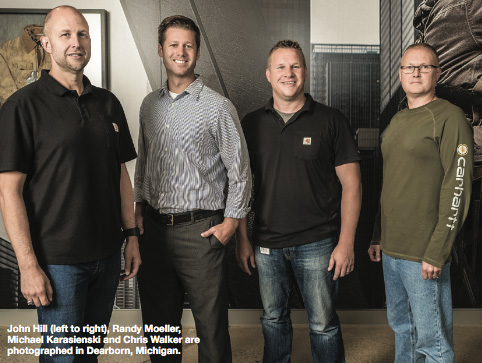 John Hill (left to right), Randy Moeller, Michael Karasienski and Chris Walker are photographed in Dearborn, MI.
